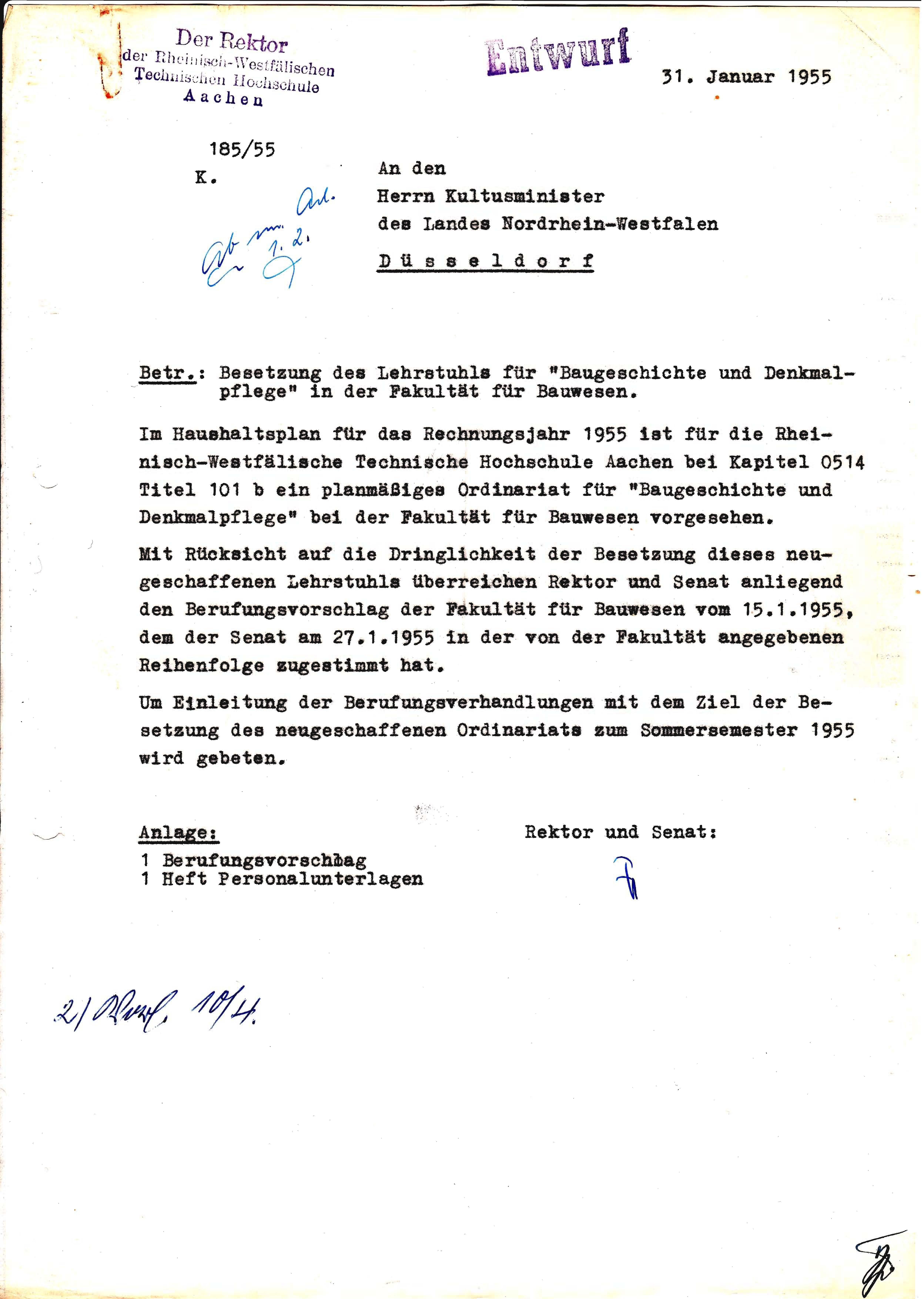 Akte 117 Gründung Baugeschichte und Denkmalpflege 1955