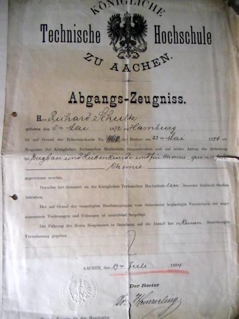 Abgangszeugnis 1894