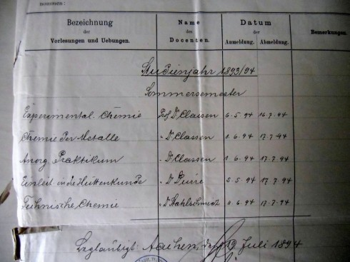 Zeugnis Schultz_1894vorlesungen