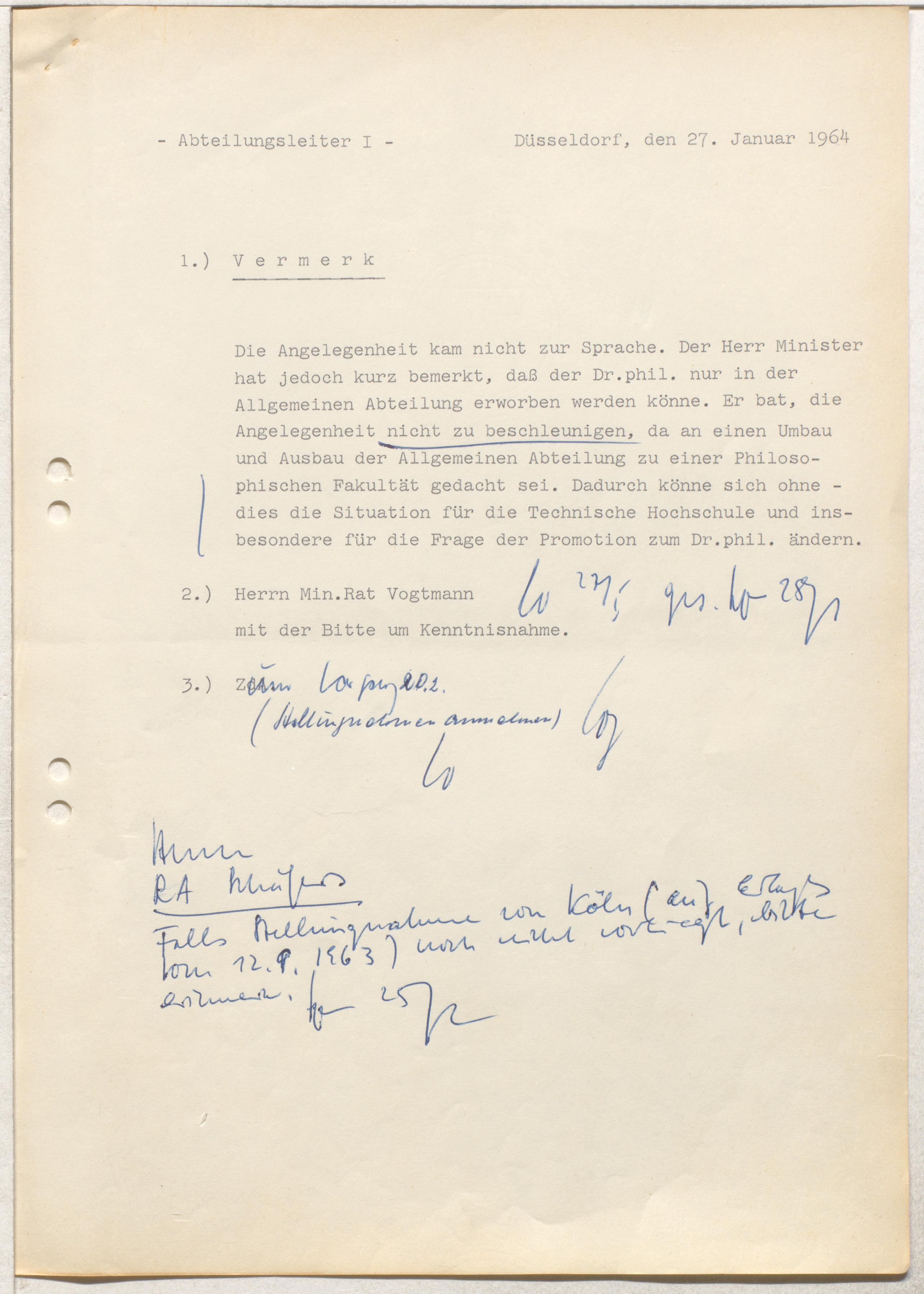 Vermerk 27.1.1964