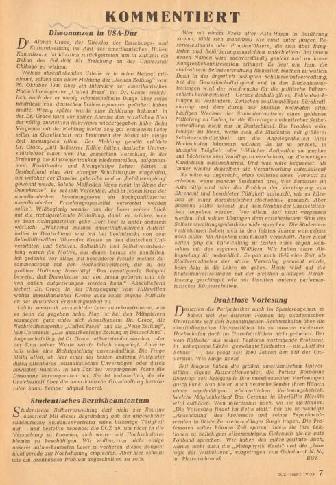 Sig 122b Deutsche Universitätszeitung 1949 Seite 7 -geschnitten