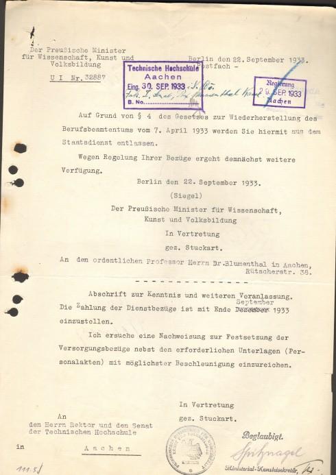 Entlassungsschreiben Blumenthals (Signatur: 508)